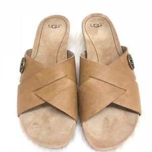 UGG Australia Lyra Leather Cork Wedge Sandal Sz 8